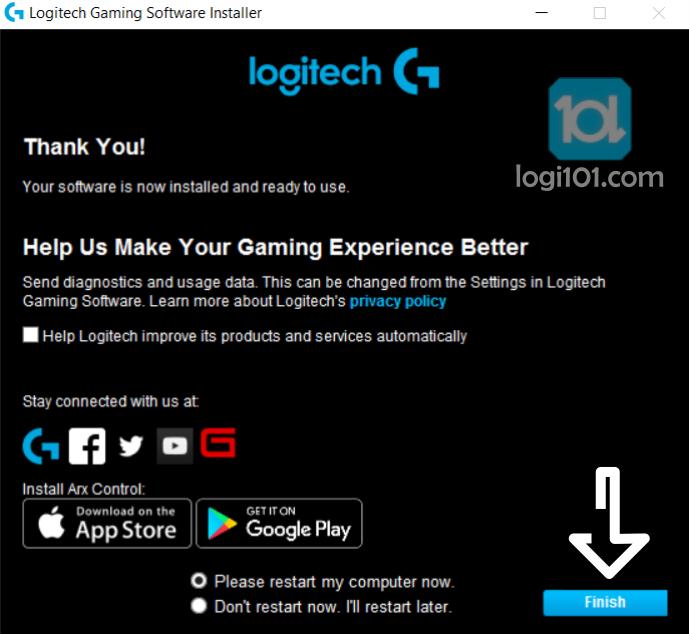 logitechgamingsoftware finish